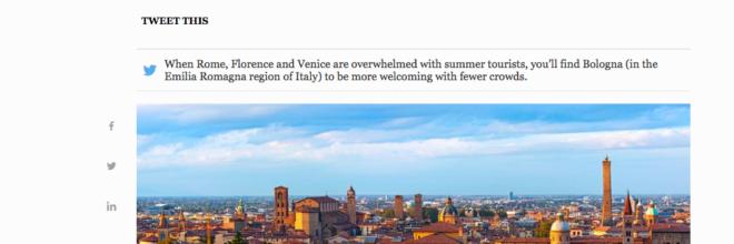 Bologna perfetta alternativa estiva  alle affollate città d'arte italiane secondo Forbes.com